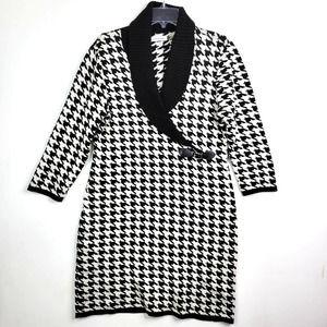Calvin Klein Sweater Dress L Black Houndstooth